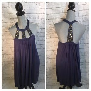 NEW LaRok M babydoll Embellished Beads Swing Dress